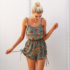 Casual floral print strap ruffles playsuit