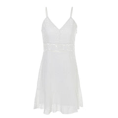 Cotton Embroidery Casual Strap Hollow Out Lace Dress