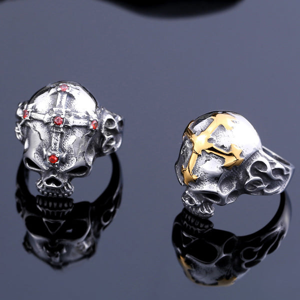 Cross on Skull 316L Stainless Steel Ring