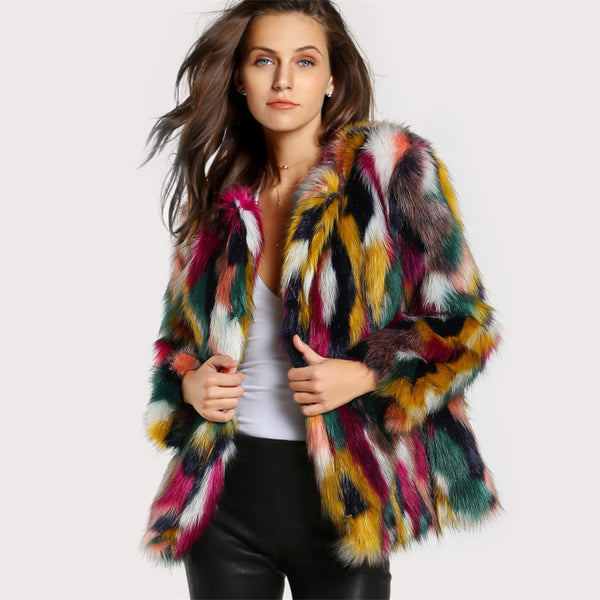 Elegant Fur Coats Colorful Faux Fur Coat