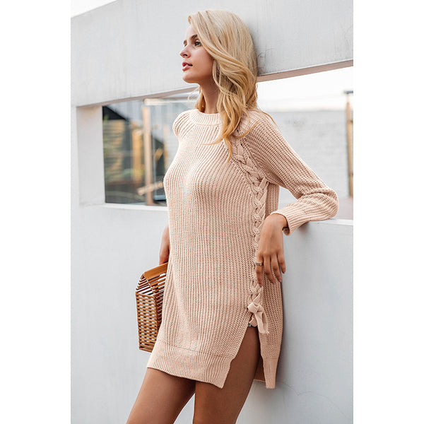 Elegant lace up winter sweater - 3 Colors