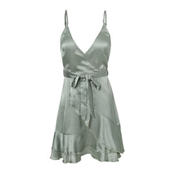 Elegant v neck ruffle satin summer dress