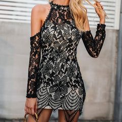 Halter cold shoulder black lace dress