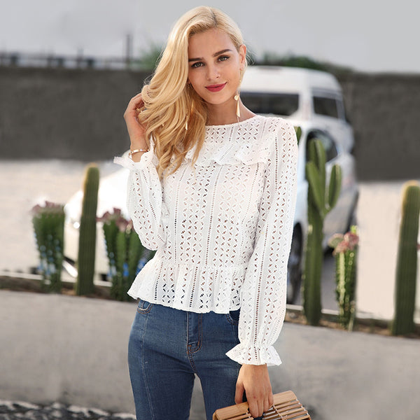 Hollow out long sleeve white blouse shirt