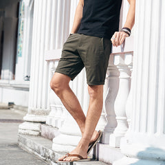 Knee length Cotton Slim Solid Base Men Short