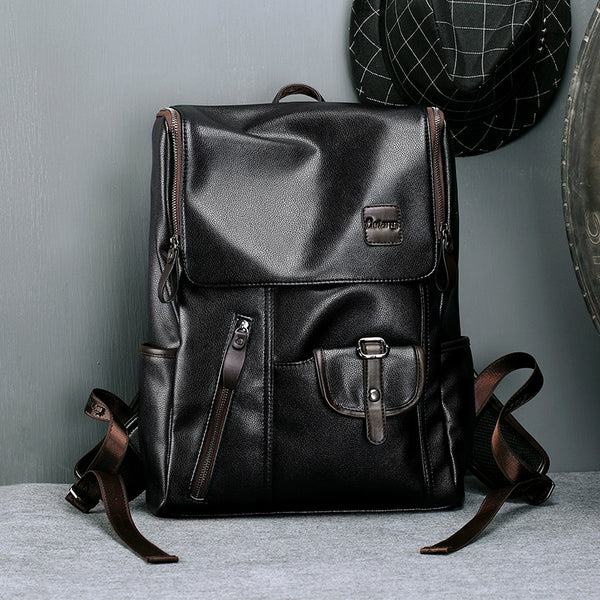 Leather Travel Casual Backpack 14 Inch Laptop