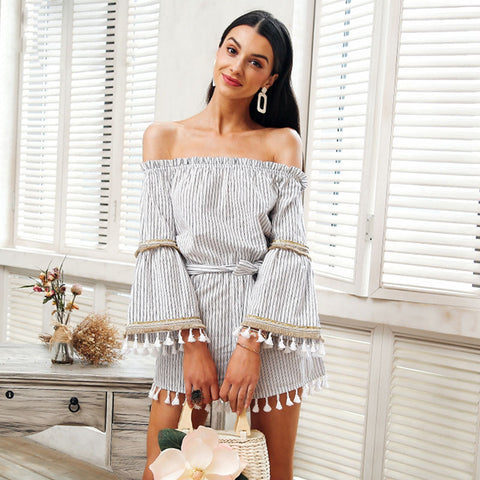 National boho stripe tassel jumpsuit romper