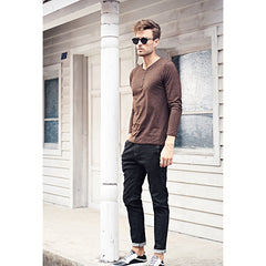 New Casual high-Quality Full-Length Slim Straight Jean