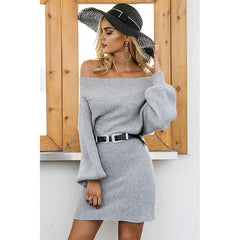 Off Shoulder Long Knitted Sweater Dress