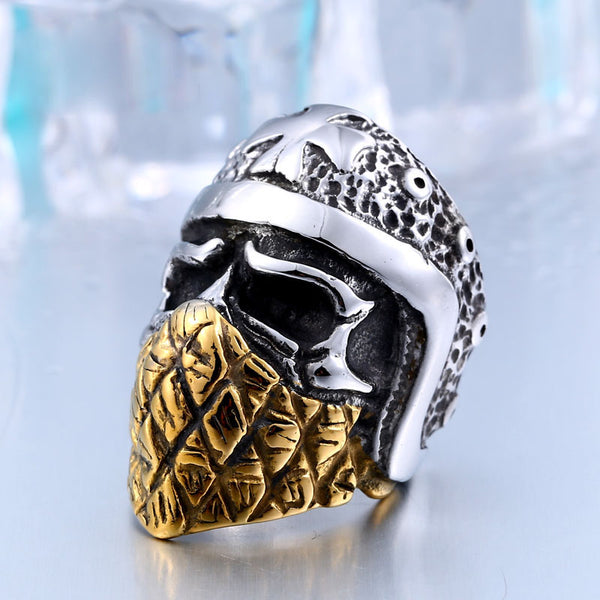 Part Plated-Gold Cross Skull 316L Stainless Steel Ring