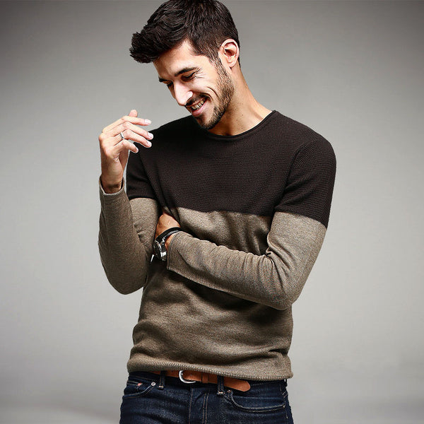 Patchwork Khaki Knitted Slim Knitwear Sweater