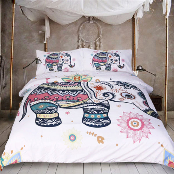 Rainbow Mandala Elephant Duvet Cover Set