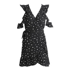 Ruffle cold shoulder polkadot print summer dress