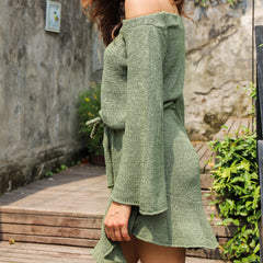 Sexy Elegant off shoulder knitting sweater dress