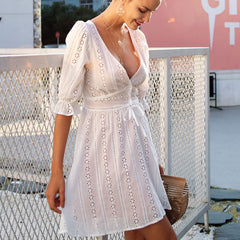 Sexy Casual V-neck hollow out lace dress