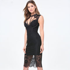 Sexy Sleeveless Hollow Out Knee Length Tank  Lace Dress