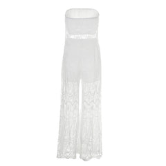 Sexy Strapless split white two-piece lace jumpsuit romper