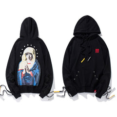 Side Lace-Up Embroidery Hoodie - Virgin Mary