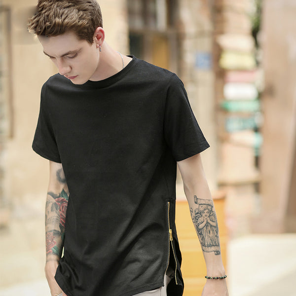 Side Zipper Extended Swag Long T-Shirt Black