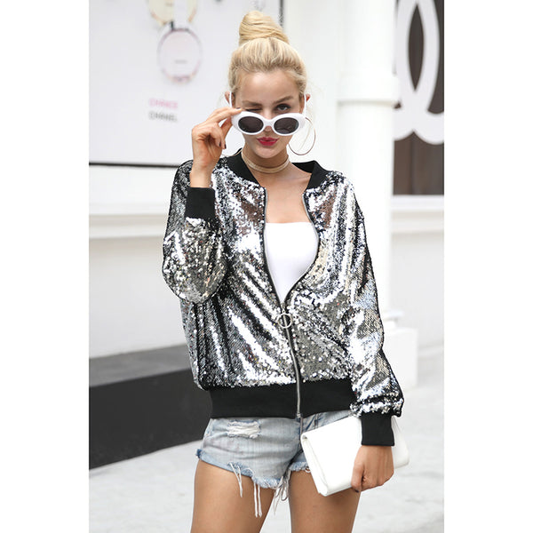 Silver Sequin Zipper Jacket