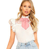 Sleeveless Ruffle Floral  Stand Collar Button Knot Blouse Top