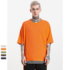Solid Elbow Length Crew Neck Cotton Oversized T-Shirt
