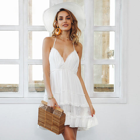 Strap backless mini summer dress