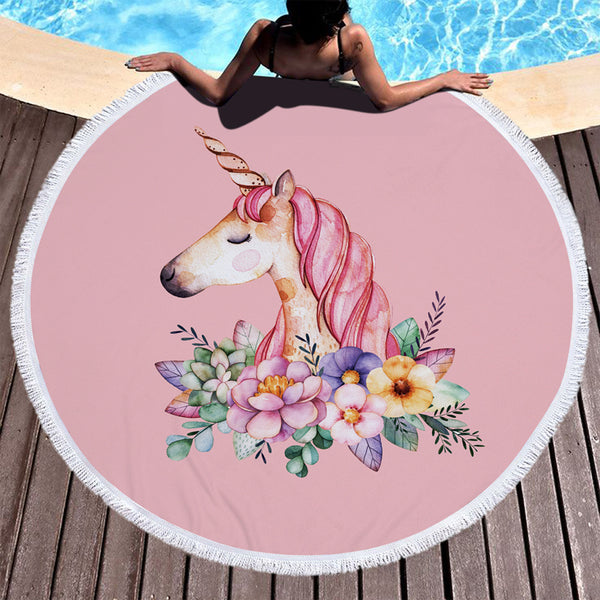 The Unicorn in Flowers Beach Summer Towel Round With Tassels
