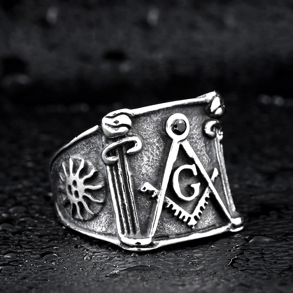 "The ""Vintage Masonic"" 316L Stainless Steel Ring"