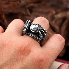 The Yin Yang Dragon 316L Stainless Steel Ring