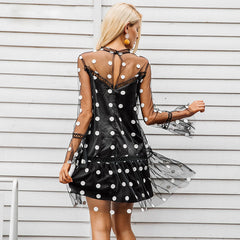 Casual Transparent mesh Dot mini sexy dress