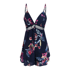 V neck backless Floral print casual chiffon jumpsuit romper