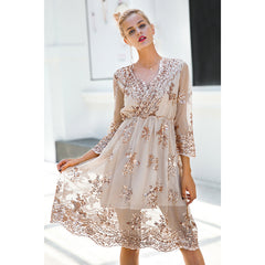 V neck Long Sleeve Sequin Party Dress