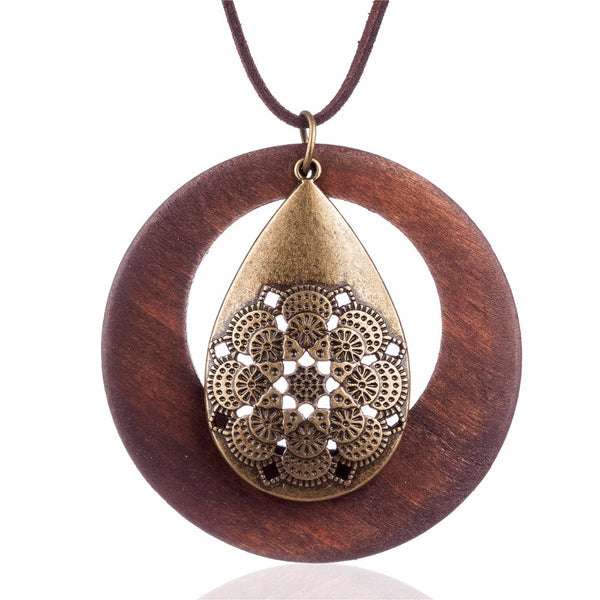 Womens wooden pendants looking for offer vintage statement wooden pendant aloadofball Image collections