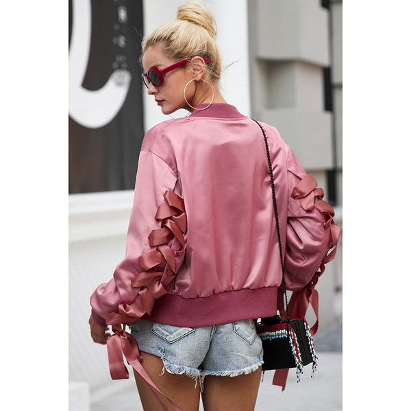 Women's Basic Lace Up bomber jacket