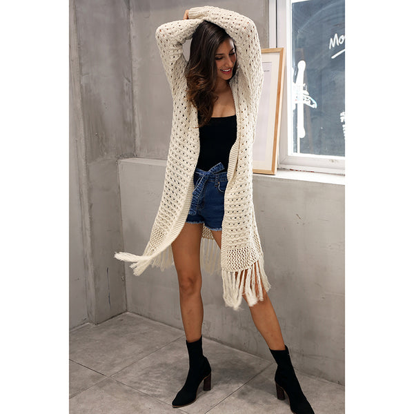 Women's Elegant knitting long cardigan