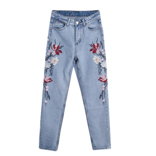 Women's Fashion floral embroidery jean