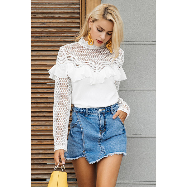 Women's Hollow out sexy lace blouse shirt