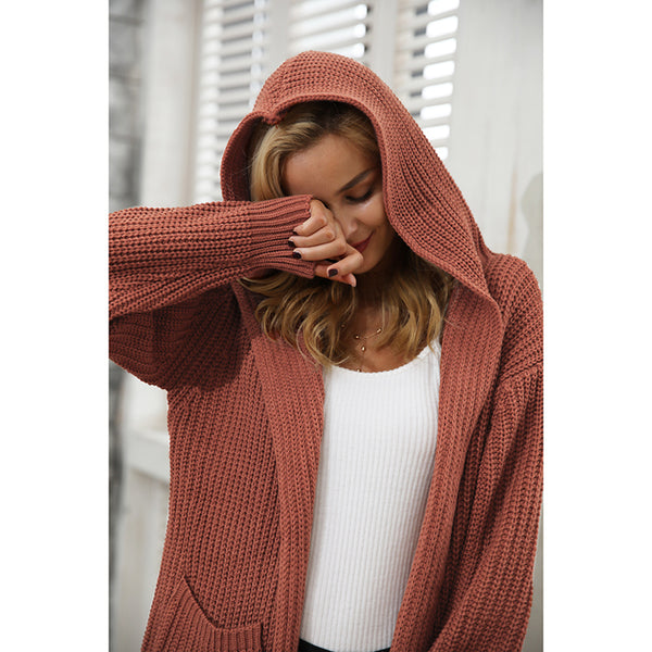 Women's Hooded knitting long cardigan sweater