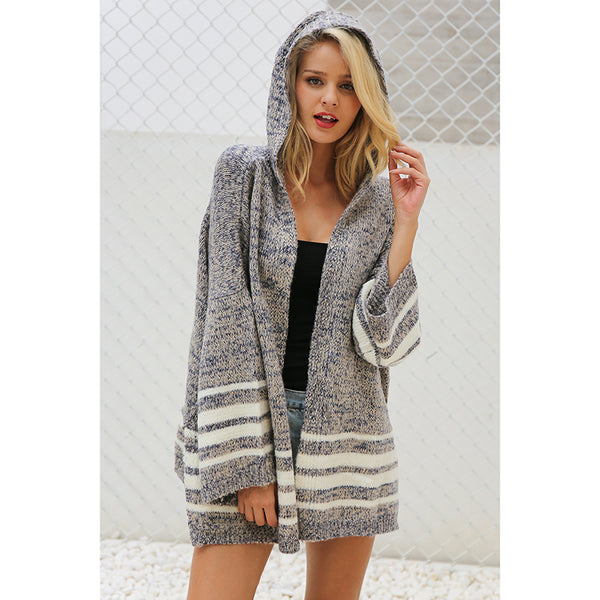 Women's Hooded winter knitted sweater cardigan