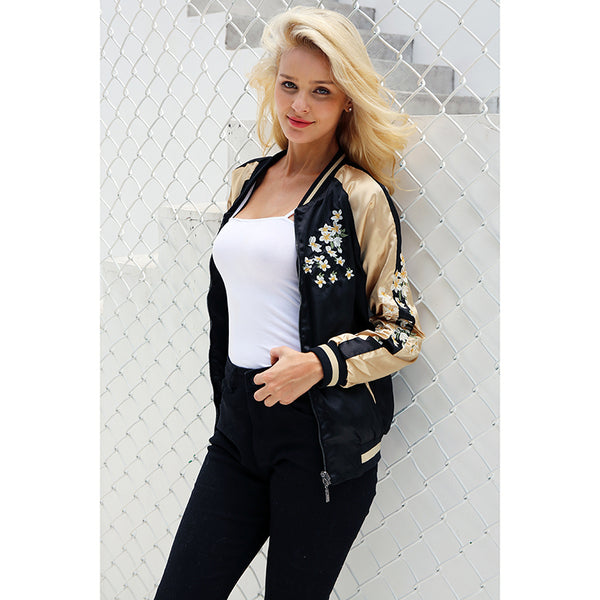 Women's Vintage embroidery basic jacket coat