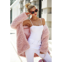 Women's Warm winter faux fur coat - Pink