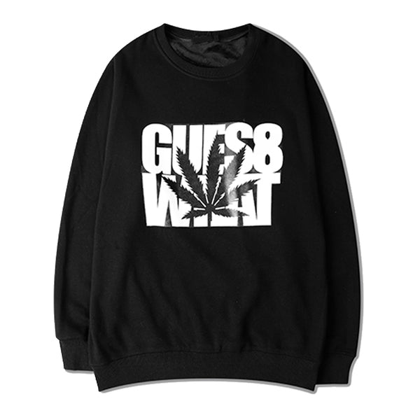 "Hoodie Sweatshirt Hemp Leaves ""GUES8 WHAT"" - Black"