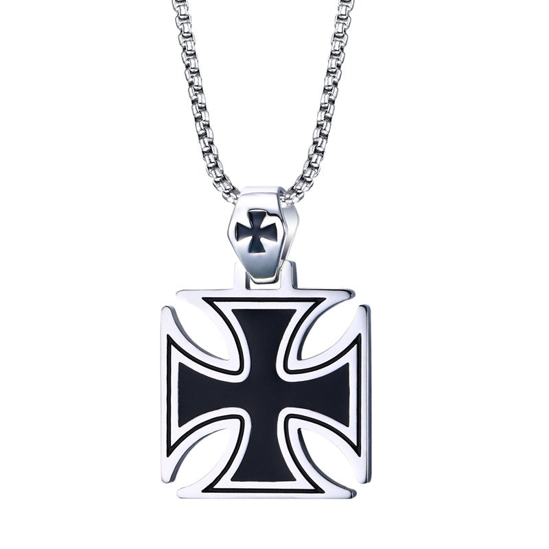 Vintage Knights Templar Iron Cross Pendant and Chain (Stainless Steel)
