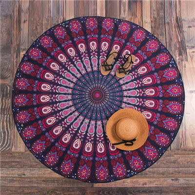 Hippie Mandala Peacock Flower Indian Bohemian Beach Towel No11