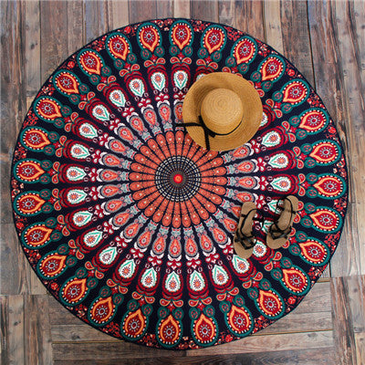 Hippie Mandala Peacock Flower Indian Bohemian Beach Towel No7