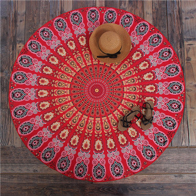 Hippie Mandala Peacock Flower Indian Bohemian Beach Towel No12