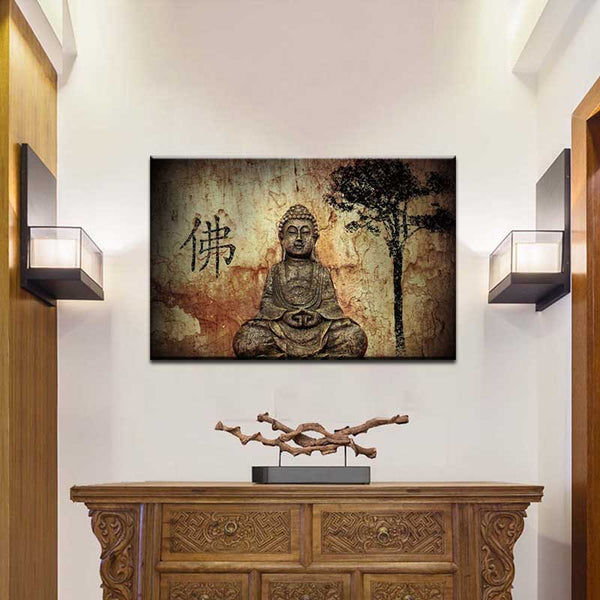 Traditional Brown Buddha Print on Canvas Painting