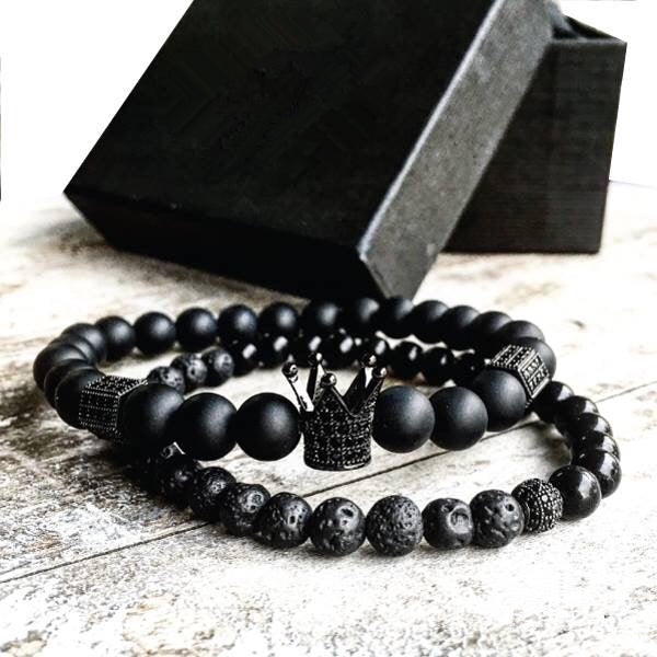 Men & Woman Natural  Beads Buddha Crown Charm bracelet set - Black & Black