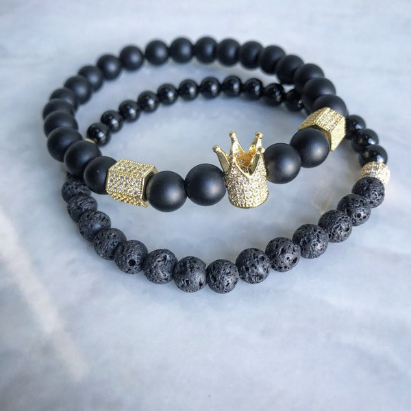 Men & Woman Natural  Beads Buddha Crown Charm bracelet set - Black & Gold